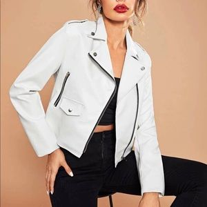 White faux leather motorcycle jacket